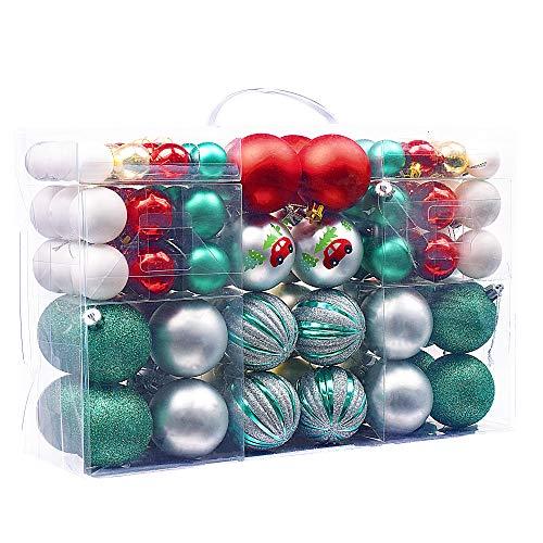 Victor's workshop 100 pezzi palline di natale palle di natale decorazione albero di natale decorazioni natalizie(rosso & verde &bianca)