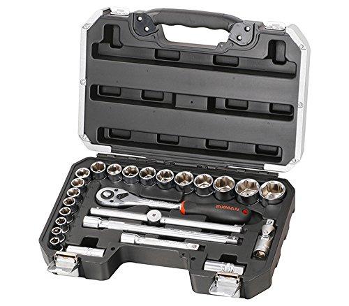 Steckdosen/Maulschlüssel und Zubehörkoffer 25 tlg 10-32mm - 18 Stekdosen