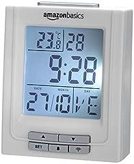 Idea Regalo - AmazonBasics - Orologio radiocontrollato con temperatura e doppia sveglia