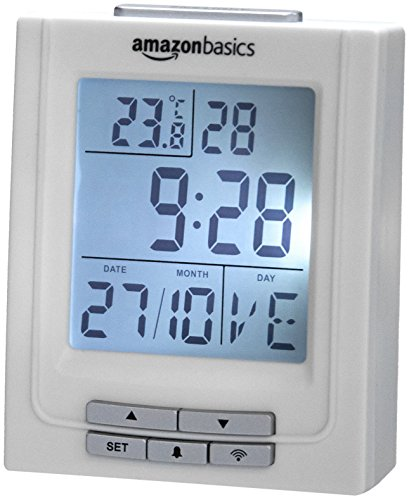 AmazonBasics - Funkwecker mit Temperaturanzeige und Doppel-Weckfunktion