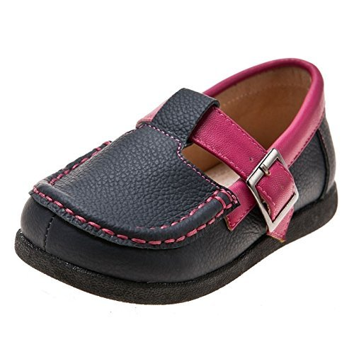 Little blue lamb toddler chaussure loafer rose chaussures en cuir gris