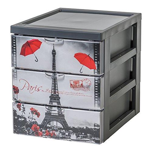 Iris Design Schubladencontainer/Rollwagen \'Style Chest Flat A5\', 3 Schubladen 2 L, Plastik, 25,8 x 19,1 x 22 cm