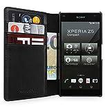WIIUKA Echt Ledertasche -TRAVEL Away- für Sony Xperia Z5 Compact, mit Vier Kartenfächern, extra Dünn, Tasche Schwarz Premium Design Leder Hülle