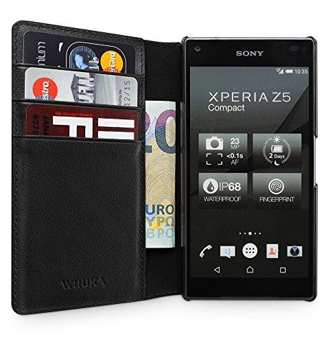 "Preisvergleich Produktbild WIIUKA Echt Ledertasche ""TRAVEL AWAY"" Sony Xperia Z5 Compact mit Vier Kartenfächern extra Dünn Tasche Schwarz Premium Design Leder Hülle"