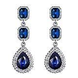 Clearine Damen Fashion Quadra Kristall Hochzeit Braut Ttropfen Bead Dangle Statement Ohrringe Silber-Ton Blau