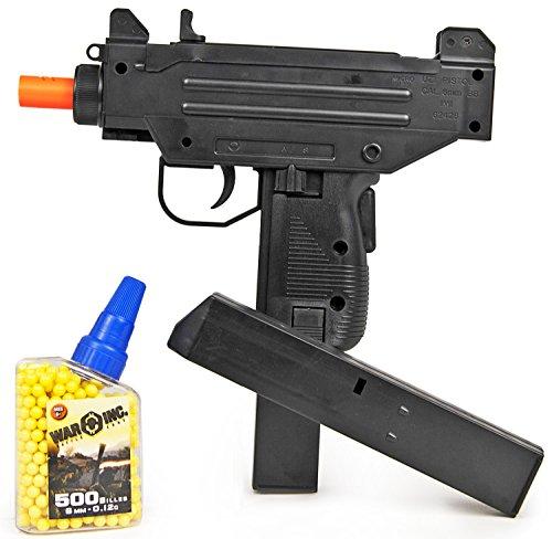 Nerd Clear Softair-Gewehr Maschinen-Pistole inkl. Magazin u. 500 Kugeln schwarz ca. 25 cm langunter 0,5 Joule ab 14 Jahre 6 mm (Maschine Pistole)