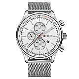 TREEWETO Herren Uhren Classic Silber Armbanduhr Edelstahl Milanaiseband mit Datum Kalender Herrenarmbanduhr Herrenuhr