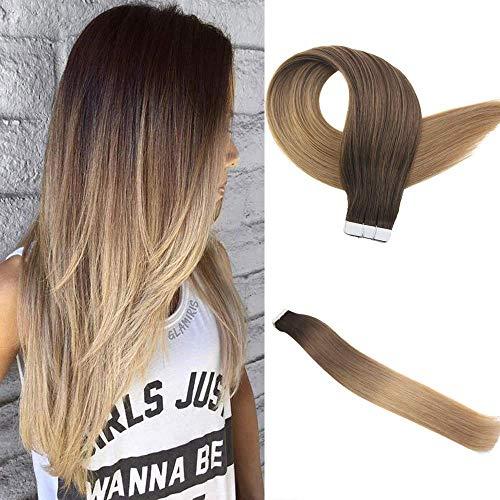 Easyouth Balayage Tape Hair 18 zoll 50g 20Stück pro Paket Farbe #2T6T27 2 Verblassen bis 6 Verblassen bis 27 Echthaar Extensions Ombre Tape in Glue in Extensions