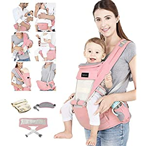 Azeekoom Baby Carrier, Ergonomic Hip Seat, Baby Carrier Sling with Fixing Strap, Bibs, Shoulder Strap, Head Hood for Newborn to Toddler from 0-36 Month (Pink)   4