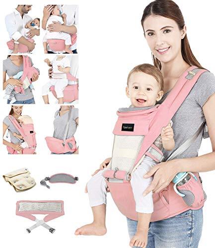 Azeekoom Marsupio Neonati Porta Bebè Ergonomico con Cinghia di Fissaggio Bavaglini Tracolla Cappuccio della Testa per Appena Nato al Bambino 0 36