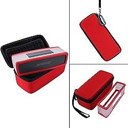 Nicecool Housse de transport rigide avec coque souple pour haut-parleur Bluetooth Bose SoundLink Mini I et Mini II Compatible avec le câble de charge Red