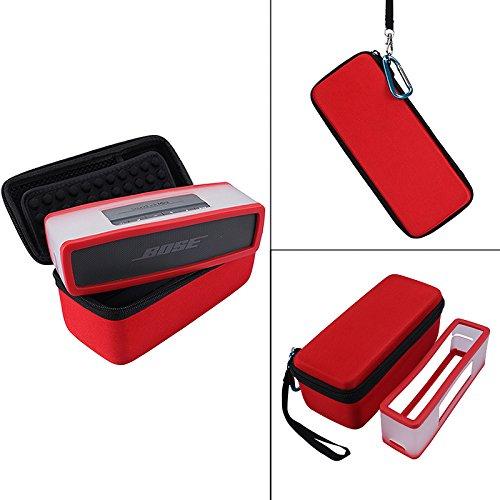 NiceCool Reise-Tasche Hartschale mit weichem Futter für Bose So&link Mini I & Mini II Bluetooth-Lautsprecher, mit Platz für das Ladekabel. rot