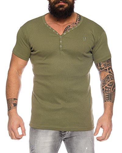 Herren feinripp T-Shirt mit Knopfleiste tiefer V-Ausschnitt Slimfit (Kaki, XXL)