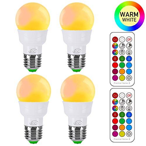 iLC Glühbirne mit Fernbedienung Farbwechsel Farbige Leuchtmittel LED Lampe Edison Dimmbare Farbige Leuchtmitte 2700K Warmweiß Lampen 3W E27 RGB LED Birnen - Dual Memory - 12 Farben - (4-er Pack)