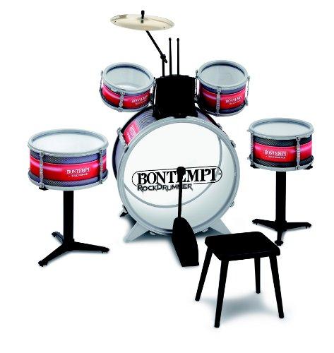 Imagen 1 de Bontempi JD 4820 - Batería para niños (1 bombo, 4 tambores, 1 címbalo, 1 banqueta y 2 baquetas)