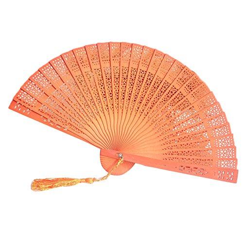 Pnizun - Hochzeit Hand Fragrant Partei Geschnitzte Bambus Faltfächer chinesischen Stil aus Holz Lady Burlesque Kostüm Tanzen Fan Hochzeiten im Freien [B - Burlesque Tanzen Kostüm