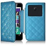 Seluxion - Etui Portefeuille Universel S Style Diamant bleu clair pour Smartphone Logicom L-ement 403
