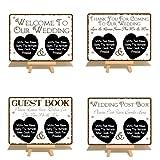 4 unidades de boda Signs Metal caballetes con refuerzo de madera (decorativo con mensaje en inglés, libro de visitas, buzón de correos) - Personaliza con pizarra para escribir bolígrafo incluido