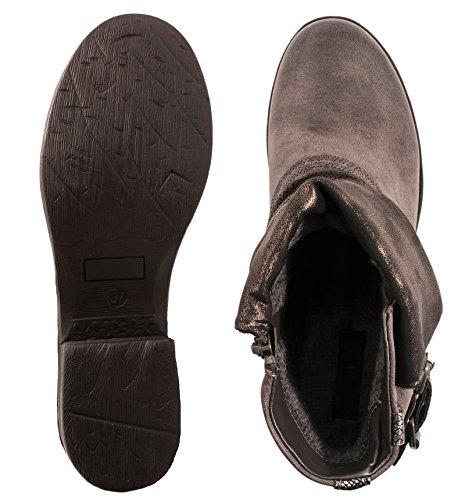 Elara Damen Biker Boots | Metallic Prints Schnallen | Nieten Stiefeletten Lederoptik | Gefüttert Grau -
