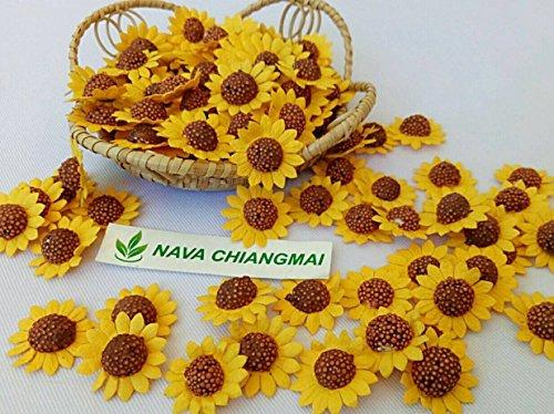 Nava Chihangmai Sonnenblumen, Maulbeerpapier, gelbe Papierblume, Sonnenblumen, Braun, Mitte, Miniaturblumen zum Selbermachen, Hochzeit, Dekoration, Sonnenblumen, künstliche Maulbeer-Papier.
