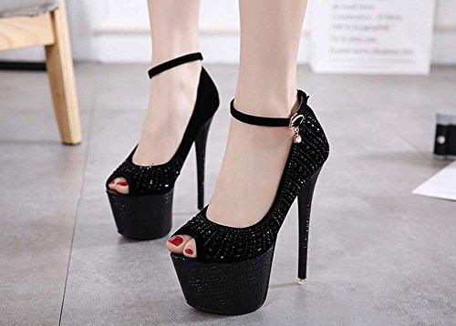 L&Y Scarpe da ginnastica delle cinghie delle donne Scarpe di banchetto di Peep Charming Charming Scarpe con scarpe alte di acqua lucida Nero
