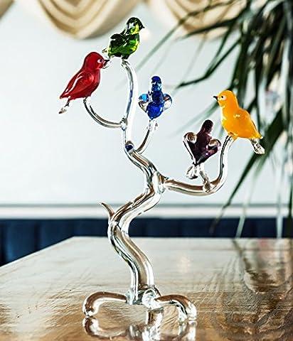 Handmade Glass Tree With Birds Sculpture Decorative Art With 5 Birds UK