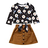 Chennie Baby Girl Toddler Outfits Daisy manica lunga Top Bowknot Top Shirt + Set gonna corta (Color : Black+Brown, Size : 3-4Y)