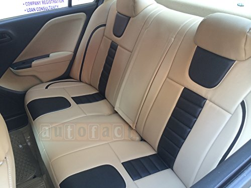 Autofact AF07 PU Leather Car Seat Covers Tata Zest Beige Black