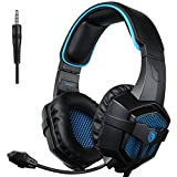 SADES 807 Multi-Platform Gaming Headset for Playstation 4 New Xbox One PS4 PC Computer Games, Noise Isolation Bass Surround Stereo Soft Earmuffs Over-ear Headphones with Mic