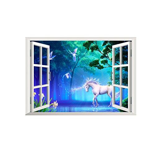 Winhappyhome Etiquetas Engomadas Falsificadas Del Arte De La Pared De La Ventana Del Unicornio Para El Dormitorio