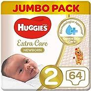 حفاضات العناية الفائقة للمولودين حديثاً من هاجيز، مقاس 2، 4-6 كغم، عبوة بحجم جامبو تتضمن 64 حفاض