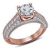 Vorra Fashion Wonderful Round Cubic Zirconia 14K Rose Gold Plated 925 Sterling Silver Anniversary Ring (11)
