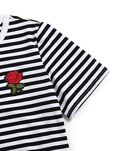 ROMWE Damen Rose Stickerein Sommer Kurzarm Top Tshirt Schwarzweiß