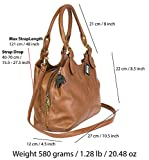 BHSL Womens Multiple Pockets Medium Size Long Strap Shoulder Bag - with a Branded Protective Storage Bag and Charm (Dark Tan 105)