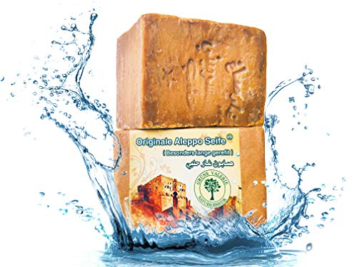 Grüne Valerie® Originale Aleppo Seife mit 70/30% Lorbeeröl/Olivenöl - 200g + Haarwaschseife/Duschseife PH Wert 8 - Detox Eigenschaften - veganes Naturprodukt - Handarbeit - über 7 Jahre gereift!