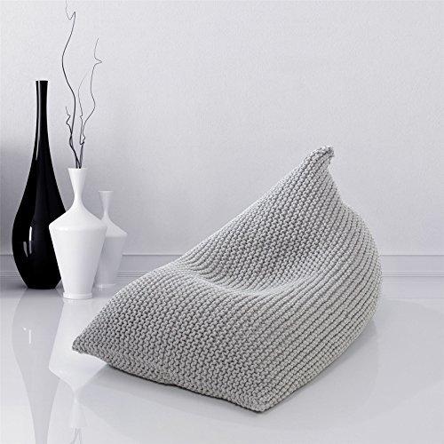GR8 Home Luxus groß gestrickt grau Sitzsack Sitzkissen Baumwolle geflochten Boden Kisse Stuhl Liege Fußstütze Hocker Sitz
