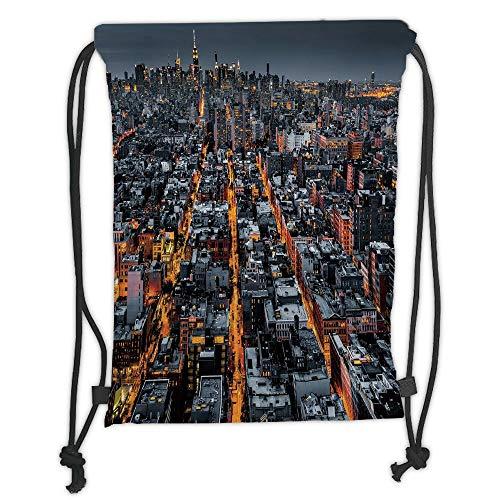 City,Avenues Converging Towards Midtown in New York America Architecture Aerial,Marigold Grey Black Soft Satin,5 Liter Capacity,Adjustable String Closure,