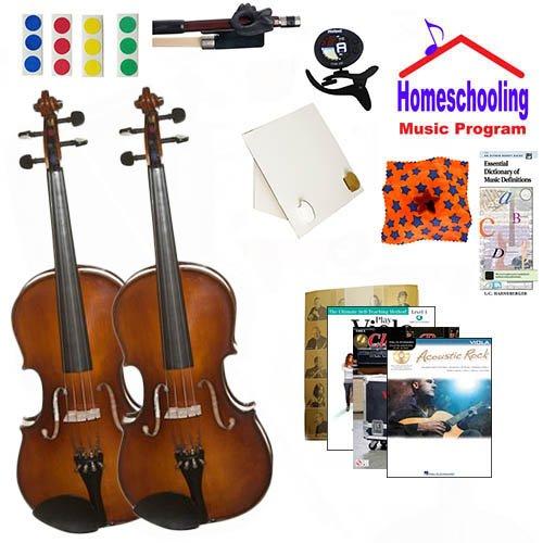 �Lernen Die Viola Eltern & Kind Pack (Akustik Rock Book Bundle)-inkl. zwei Student 40,6cm Bratschen W/Fall, Schleife, Bücher & All Inclusive Learning Essentials ()