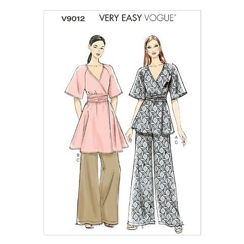Vogue Patterns V9012 42 tailles 14/16/18/20/22 Patrons de couture Haut et ceinture/Pantalon pour femme Multicolore