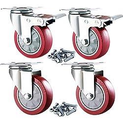 GBL - 4 Roulettes pour Meubles 100mm avec Boulons et Vis, 600KG Roulette Pivotantes Avec Frein Roue Plaques Industrielles Transport