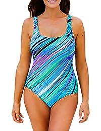 Azue Übergröße Einteiler Badeanzug Damen Bauchweg Bademode Einteilig Große  Größe Badebekleidung Sportlich Strandmode Monokini Strandkleidung Tankini 4d5ae0c299