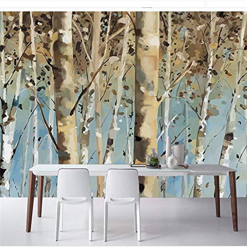 L22LW Wandbild Handgemalte Abstrakte Birkenwald United States Land Wohnzimmer Tv-Wand Papier Wandbilder, 315 cm * 232 cm (H)