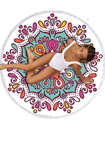 WINTER DONG große runde Badetuch Kreis Tapisserie, Mikrofaser Runde Badetuch Decke Handtuch hängen Hippie Yoga Picknickdecke (Türkis Kopf Wickeln)