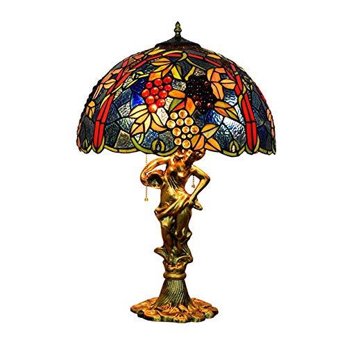MTTK Traube Buntglas Tiffany Tischlampe 3 Lichter Schlafzimmer Nachttisch Lampe 43 * 64CM -