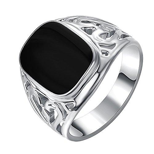 Yoursfs überzog 18k weißes Gold Solitaire Tropfen schwarzen Siegelring Öl für Männer oder Knaben oder als Geschenk für den Vatertag (Siegelringe Für Männer Gold)