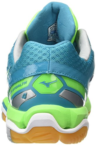 Mizuno Wave Stealth 4, Multi-sports - Interieur - Femme Turquoise (Capri Breeze/Green Gecko/Silver)