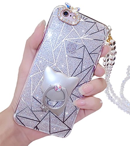 us Fall, Luxus Bling Hybrid Bumper Soft Gummi Cute Ring Ständer Halter Glitzer Make-up Fall für Mädchen Frauen mit Kristall Umhängeband iphone /s silber ()
