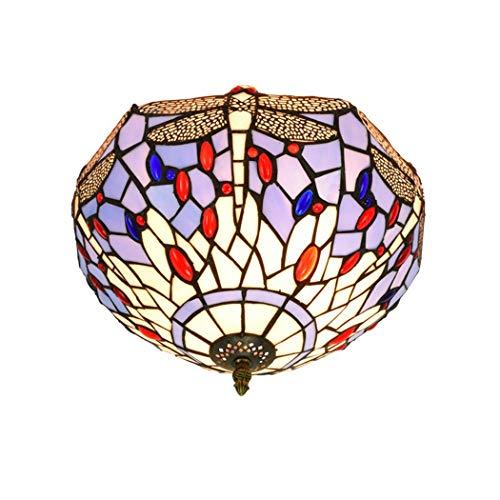 YWYU Flush Mount Deckenlampe Tiffany-Art Libelle-Korn-Glasmalerei Schatten Leuchte Decke Nachtlicht for Schlafzimmer Balkon Aisle Saal Restaurant DENG20190928 (Color : Multi-Colored, Size : 12 inch) -