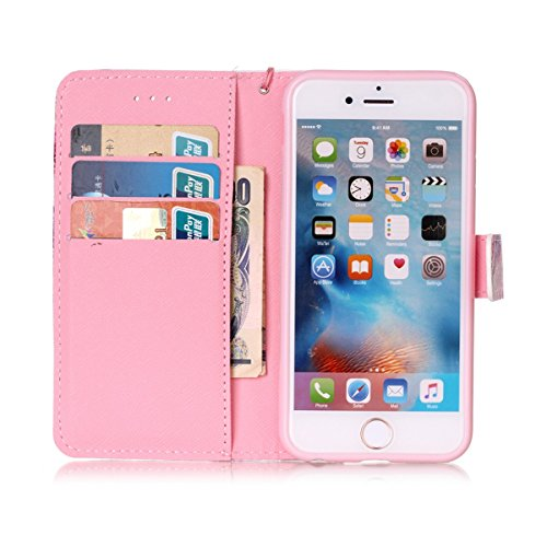 iPhone 6 Hülle, iPhone 6S Hülle, Gift_Source [ Wolf ] Stand Hülle Etui with Karte Halterung Leder Wallet Klapphülle Flip Book Case TPU Cover Bumper Tasche Ultra Slim für Apple iPhone 6s/6 E1-Halbe Blume