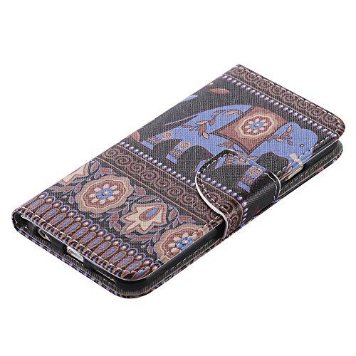Ooboom® iPhone 5SE Coque PU Cuir Flip Housse Étui Cover Case Wallet Portefeuille Fonction Support avec Porte-cartes pour iPhone 5SE - Girafe Eléphant
